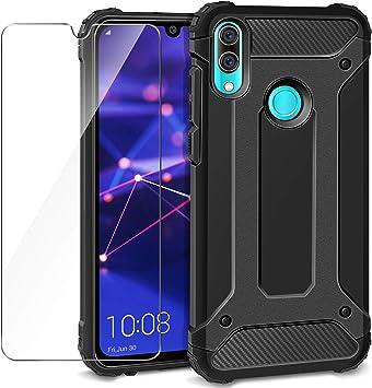AROYI Funda Huawei P Smart 2019 / Honor 10 Lite + Protectores de Pantalla in Cristal Templado, Robusta Carcasa Híbrida TPU+PC de Doble Capa Anti-arañazos Caso para Huawei P Smart 2019 Negro: