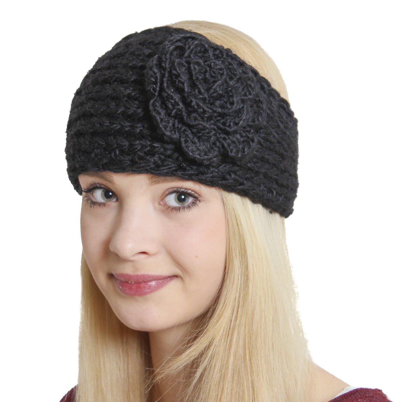 Der neue Hype für Fashionistas: BRUBAKER Strick Stirnband Headband mit extragroßer Vintage Blume