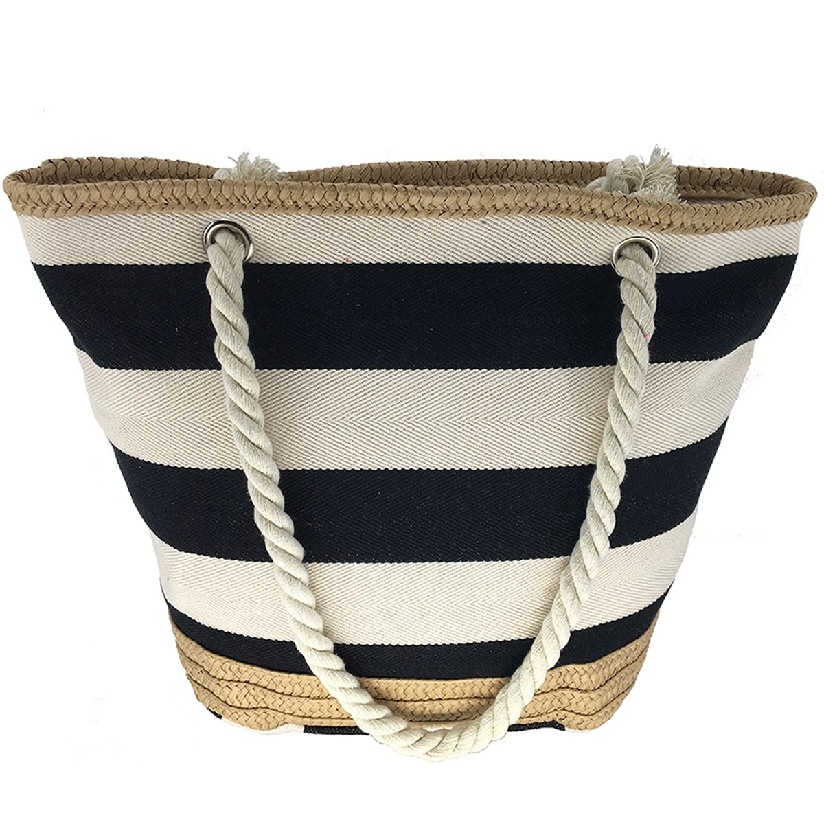 MeliMe X-Large Travel Shoulder Beach Tote Bag with Handmade Woven Straw Binding, Cotton Rope Handles, Waterproof Lining and a pocket inside. (Style 01)