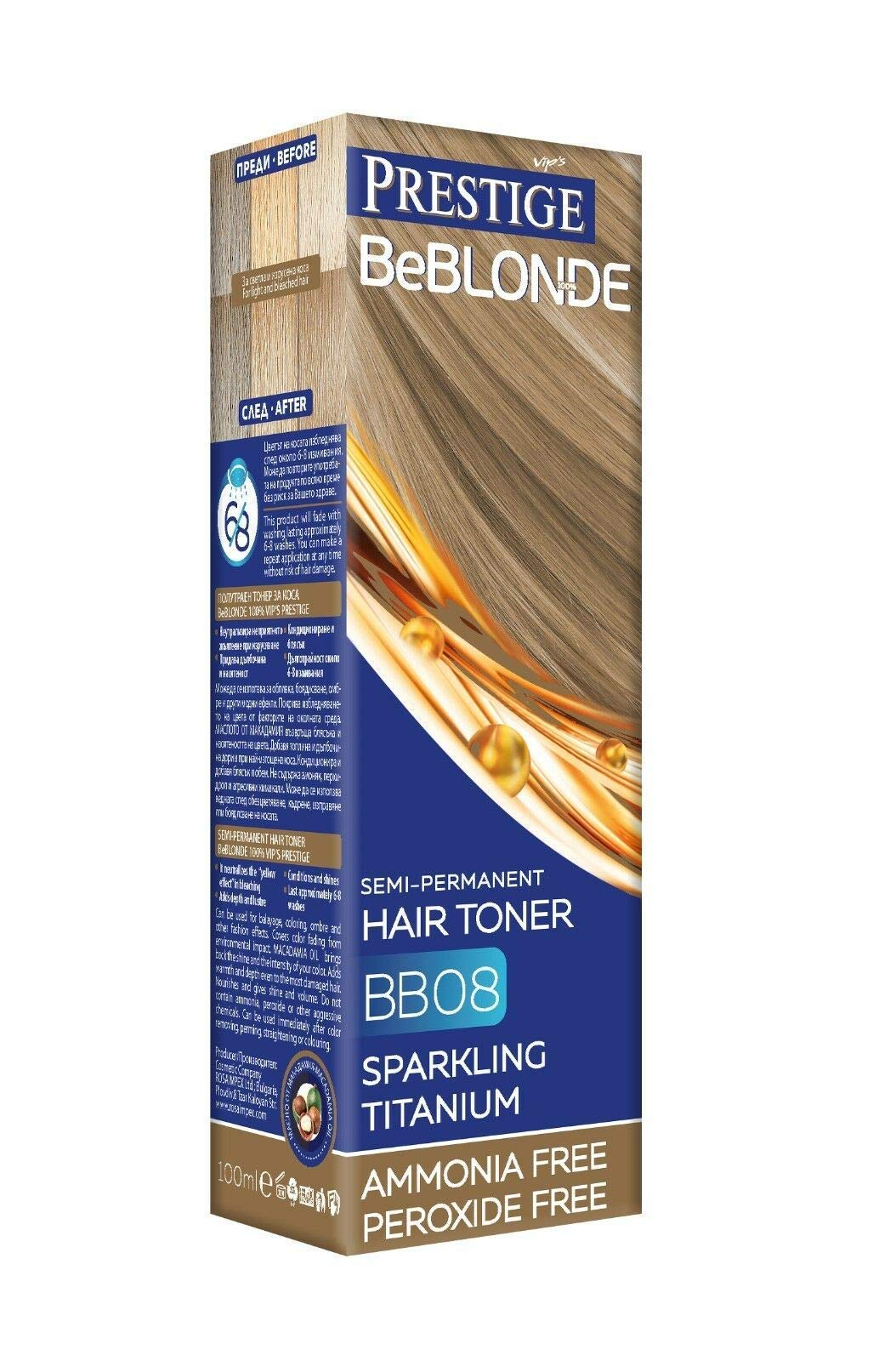 VIPs Prestige BeBlonde Semi Permanent Hair Toner Colour Sparkling Titanium BB08, No Ammonia No Peroxide