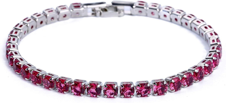 NOBRAND Damas Fila Sencilla de circón Diamante de la Pulsera del Brazalete de la Pulsera con Joyas de Cristal de Diamante Compromiso (Color : Platinum Red Diamond -17cm)