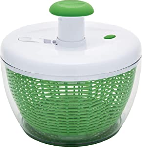 Farberware Easy to use pro Pump Spinner with Bowl, Colander and Built in draining System for Fresh, Crisp, Clean Salad and Produce, Large 6.6 quart, Green