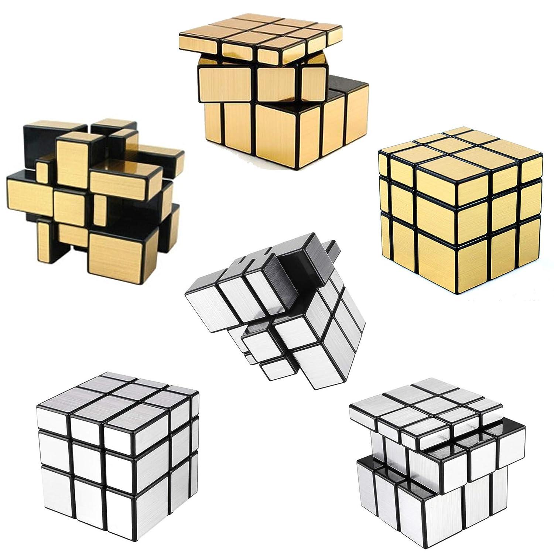 [ 6パック]ミラースピードキューブ – 3 x [ B0754PT4W4 – 3 x 3ゴールド&シルバーバンドルスピードキューブバルクRubiksバンドルパーティーFavors B0754PT4W4, kagu*kagu 家具と雑貨のお店:803a5099 --- itxassou.fr