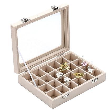 e07a99897 Amazon.com: Ivosmart 24 Section Velvet Glass Jewelry Ring Display Organiser  Box Tray Holder Earrings Storage Case (Beige): Home & Kitchen