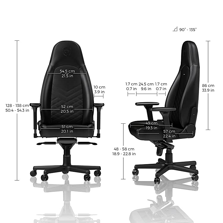 noblechairs ICON Gaming Chair Office Chair Adj. in 4 Dimensions Reclinable to 135° PU Leather 330 lbs
