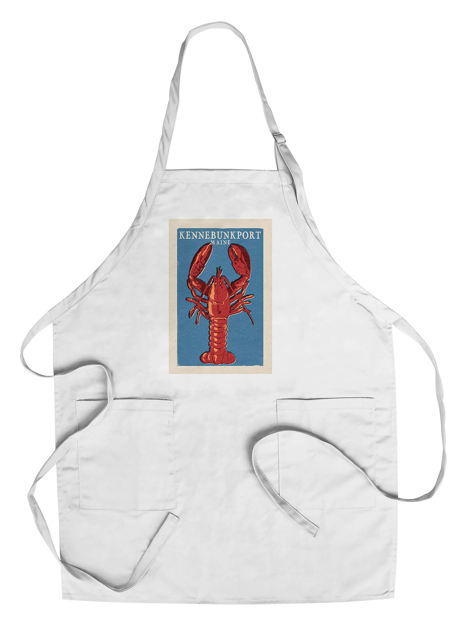 Kennebunkport, Maine - Lobster Woodblock (Cotton/Polyester Chef's Apron)