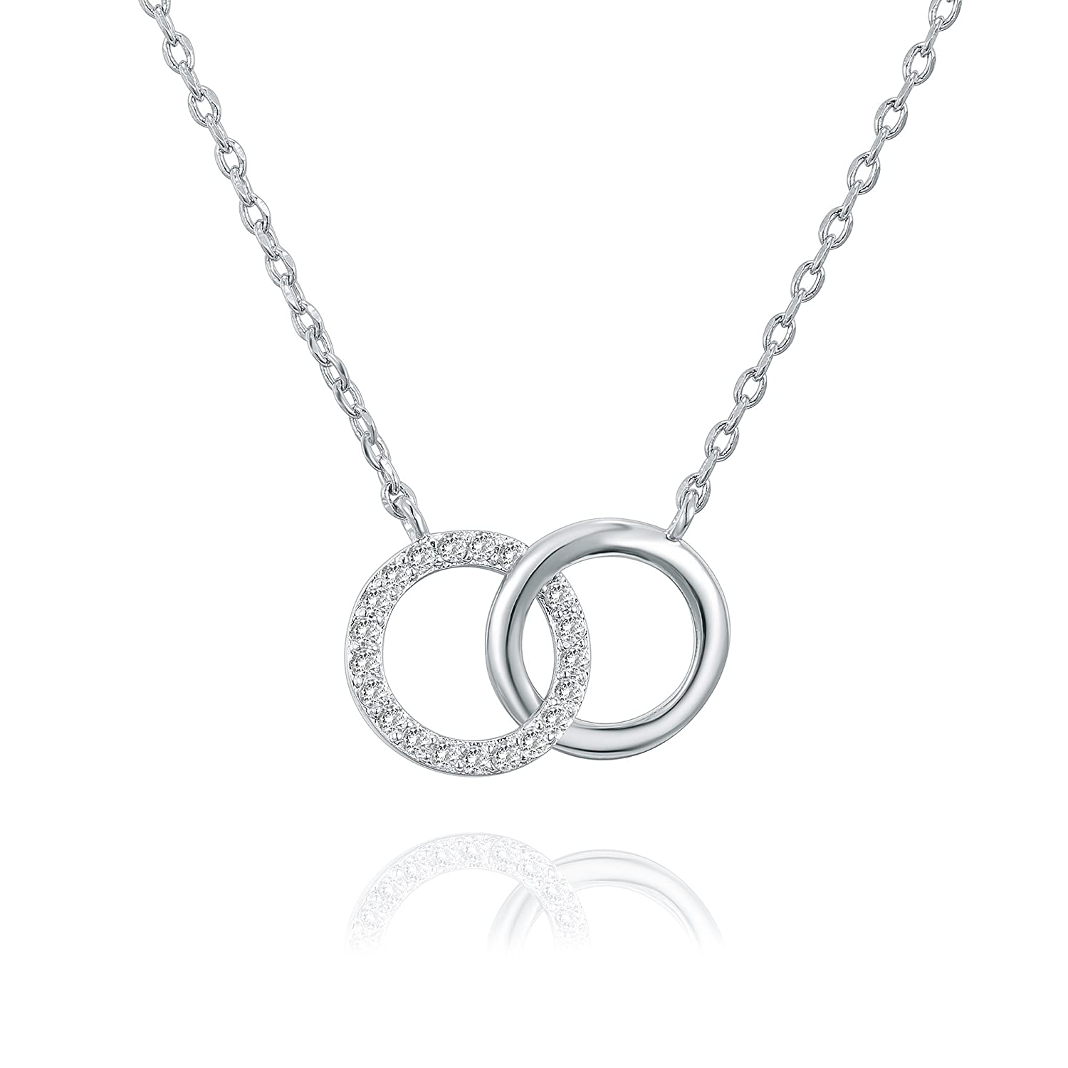 aa80ae8b94 14K Gold Plated Mother Daughter Necklace Two Interlocking Circles Infinity  Necklace - 18