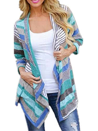 Tayaho Blusa Mangas Largas Mujer Shirt Cardigan Ligero Outwear Patchwork Multicolor Pullover Univers...