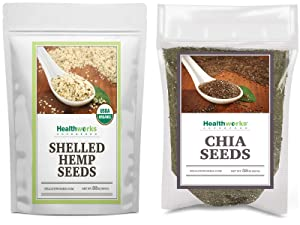 Healthworks Chia Seeds Raw (32 Ounces / 2 Pounds) and Shelled Hemp Seeds Organic (32 Ounces / 2 Pounds)
