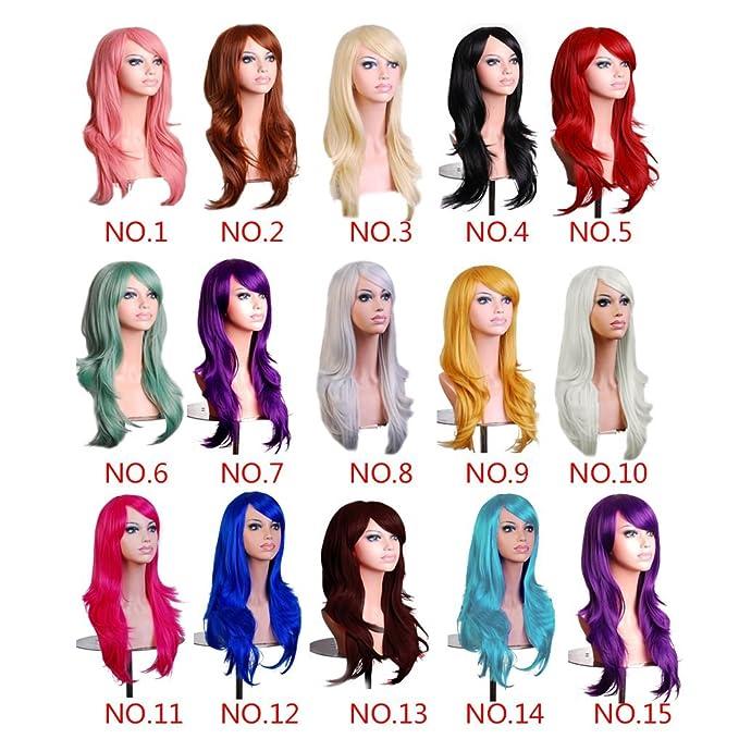 Elenxs Nueva señora 70cm muchachas de las mujeres pelucas rizadas del partido de Cosplay del Anime del traje de pelo largo y ondulado peluca peluca con el ...