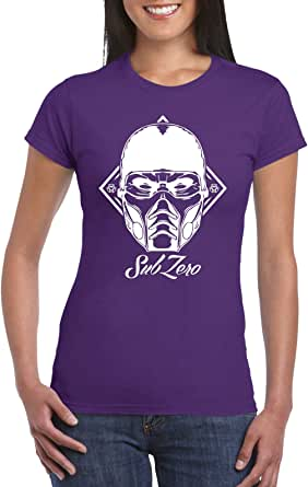 Purple Female Gildan Short Sleeve T-Shirt - Subzero Face design