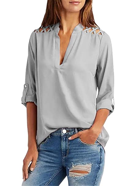 d46f94c5ce4564 FIYOTE Womens Loose Casual Blouses V Neck Cold Shoulder Tunic Top Summer T  Shirts Grey Size 24 26 XXL  Amazon.co.uk  Clothing