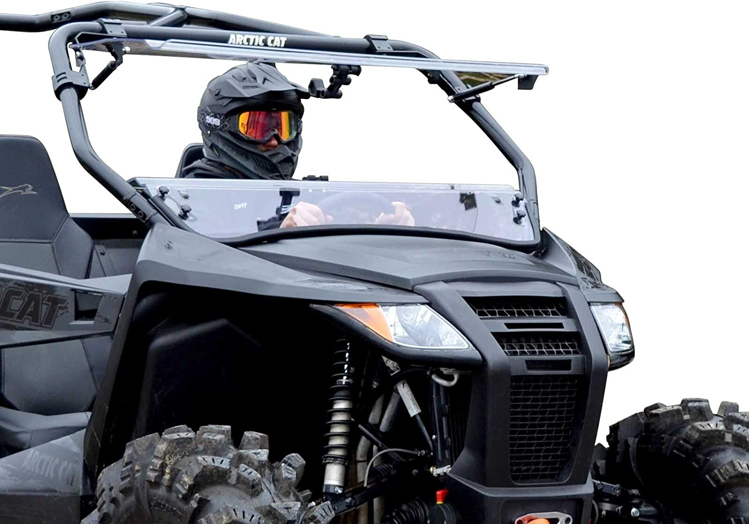 SuperATV Heavy Duty Scratch Resistant 3-IN-1 Flip Windshield for Arctic Cat Wildcat Trail 2014+ Can Be Set To 3 Different Positions!