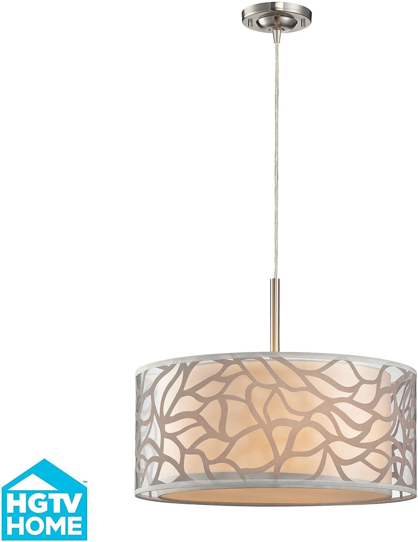 Elk Lighting 53001 3 Autumn Breeze Collection 3 Light Pendant In Brushed Nickel Amazon Com