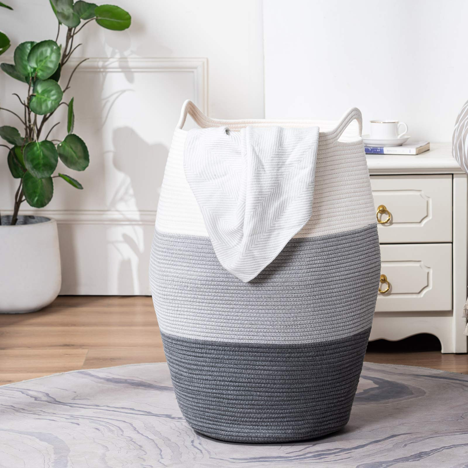 TECHMILLY Large Laundry Hamper Tall Woven Rope Basket Grey Modern Dirty Basket