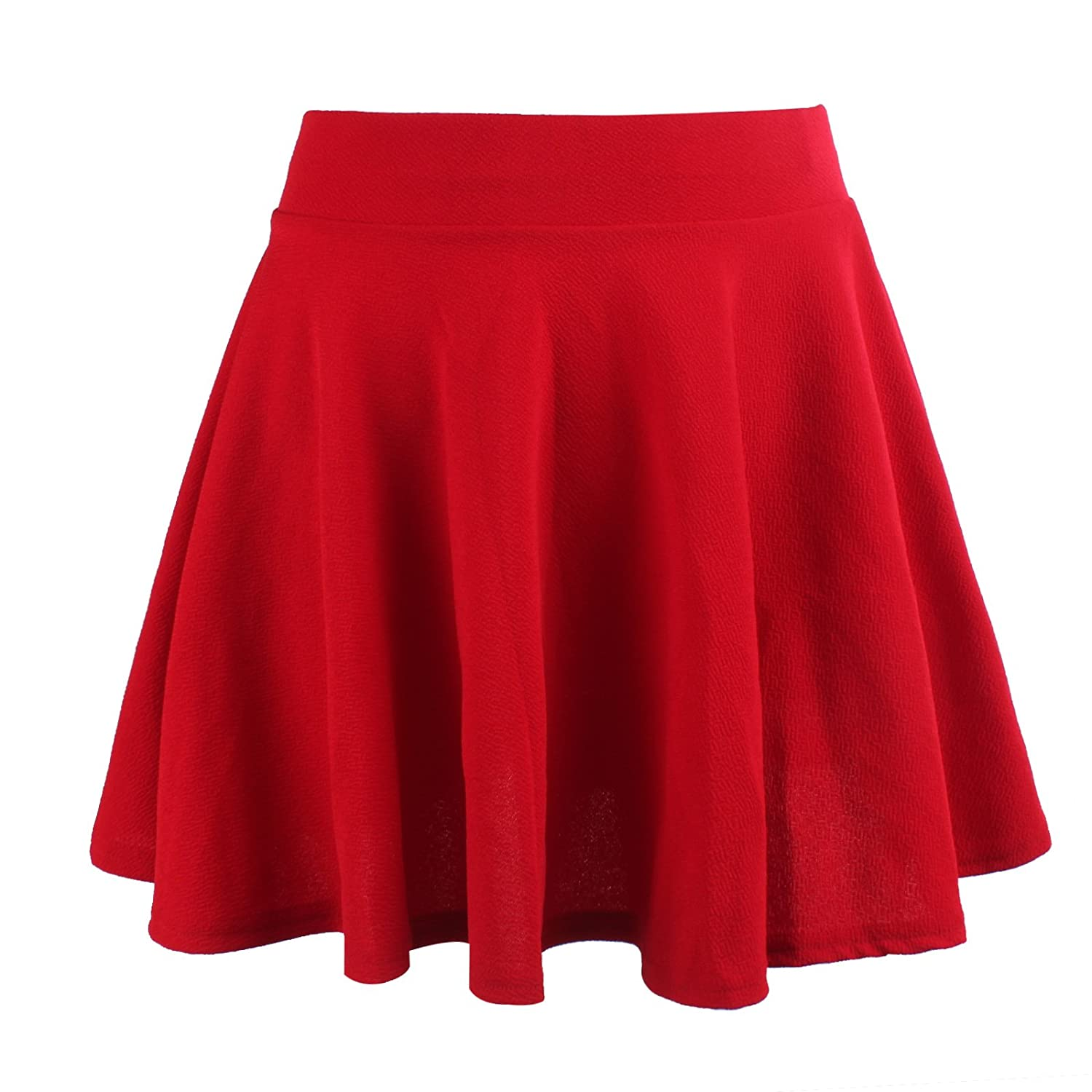 Moxeay Women's Stretch High Waist A Line Pleated Flared Mini Skater Skirt