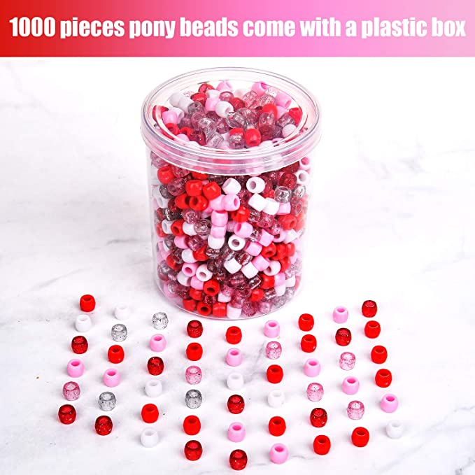 3 Colors 1000 Pieces Valentines Pony Beads Plastic Craft Beads Assorted Pony Beads with Storage Box for Valentines Day DIY Craft Jewelry Making