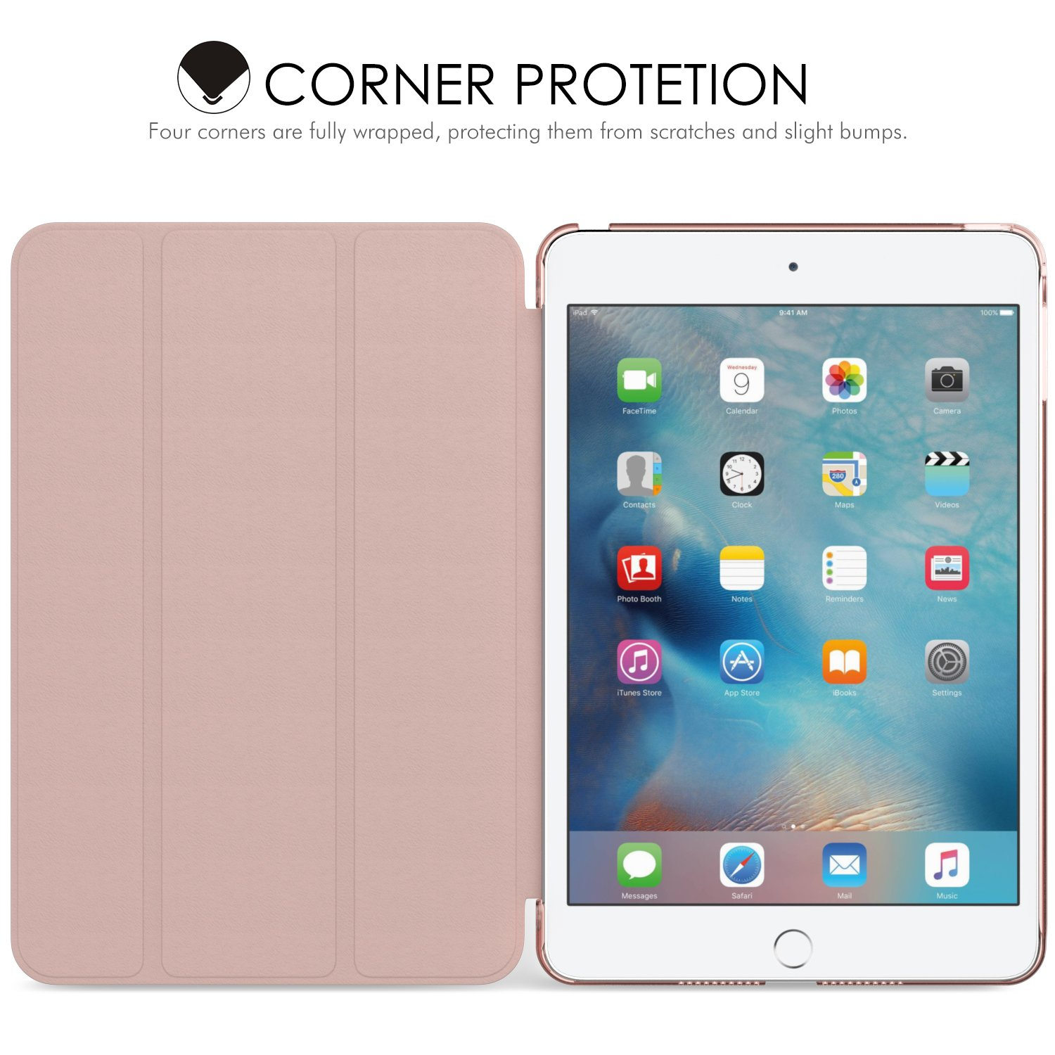 MoKo Case for iPad Mini 4 - Slim Lightweight Smart-shell Stand Cover with Translucent Frosted Back Protector for Apple iPad Mini 4 7.9 inch 2015 Release Tablet, Rose GOLD (with Auto Wake/ Sleep)