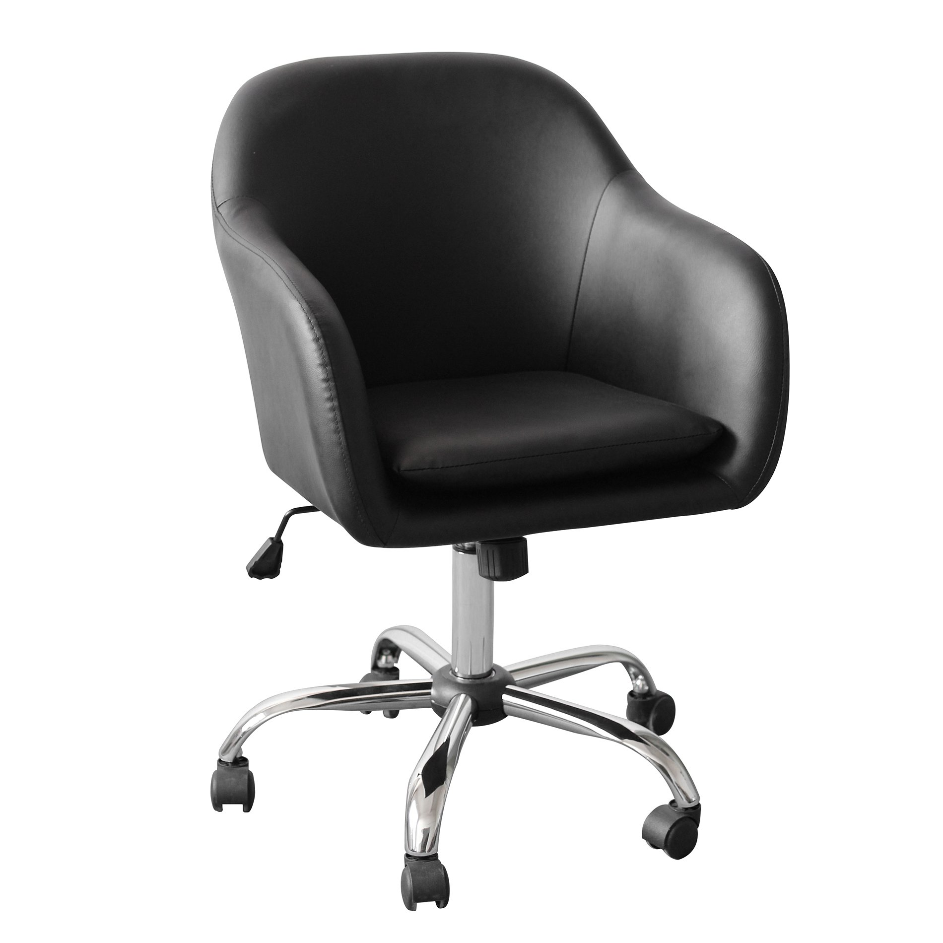 IDS Office Selection Home Office Desk Chair, Elegant Modern Design with Side Arms, Chrome Leg Waterproof Leather, Black