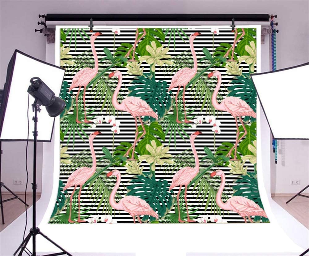 7x7ft Summer Party Polyester Photography Background Tropical Leaves Flamingo Illustration Striped Backdrop Stylish Birthday Party Banner Indoor Decoration Wallpaper Studio Props
