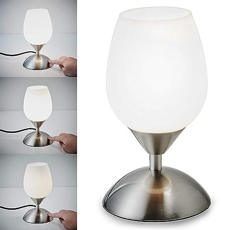 Lámpara de mesa táctil máx. 25 W E14, Altura: 195 mm, 4 niveles de luminosidad, Lamparilla de noche moderna, Color blanco, IP20