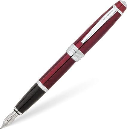 Cross Bailey - Pluma estilográfica (capuchón de rosca, incluye cartucho de tinta negra, lacado con brillo, plumín tamaño medio), color rojo: Amazon.es: Oficina y papelería