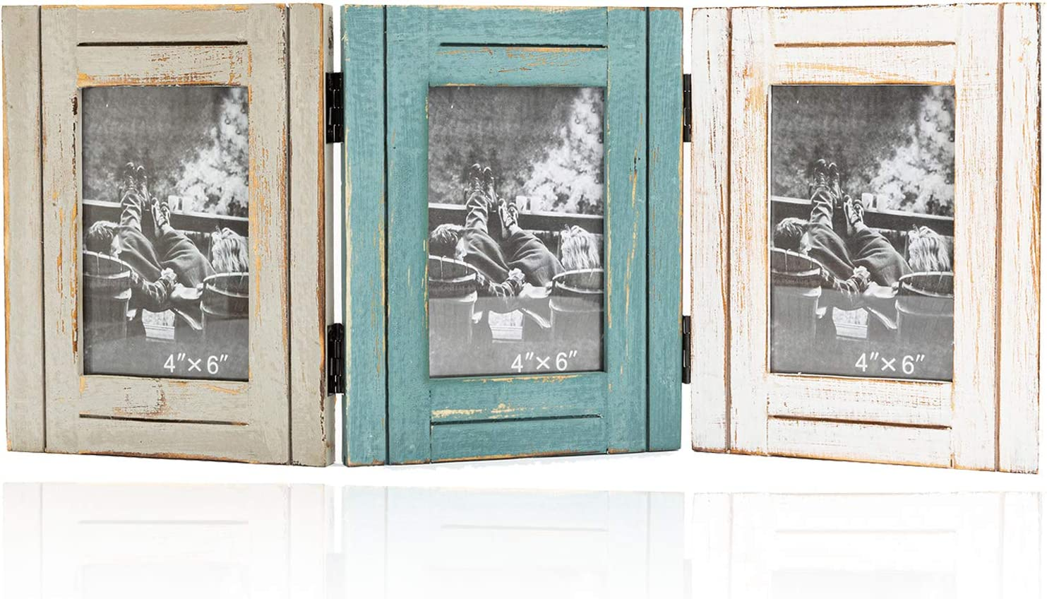 RiteSune Rustic Picture Frame 3 Folding 4x6 Vertical Openings, Hinged Triple Photo Frame with High Definition Glass