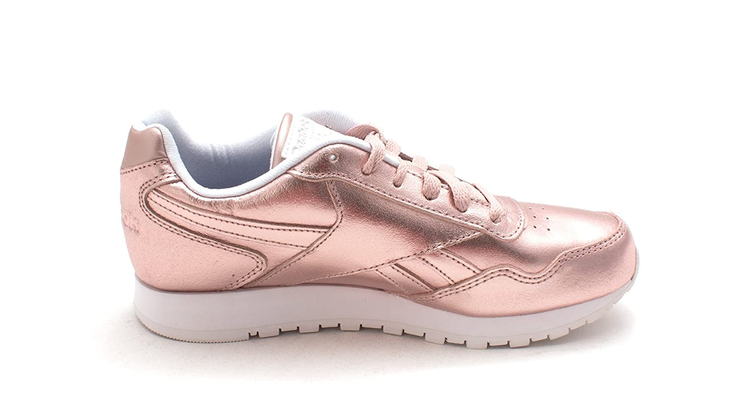Reebok Women's Cl Harman Run Mtl Sneaker B077V4BFP5 8 B(M) US|Us-rose Gold Metallic/White