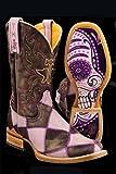 Tin Haul Women's Sugar Skull Checkerboard Cowgirl Boot Square Toe - 14-021-0007-0172 PU