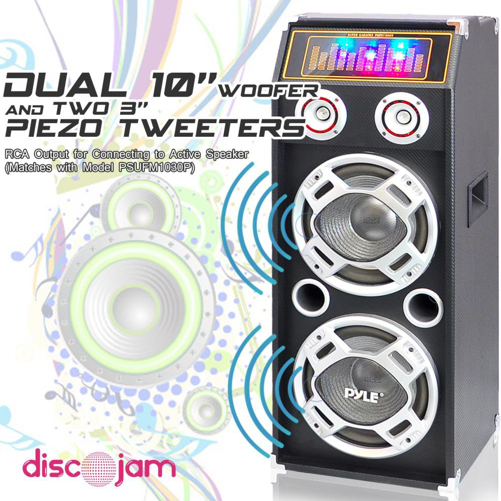 PYLE PSUFM1030P 1000-Watt Passive DJ Speaker System with 10'' Subwoofers, Flashing DJ Lights by Pyle (Image #3)