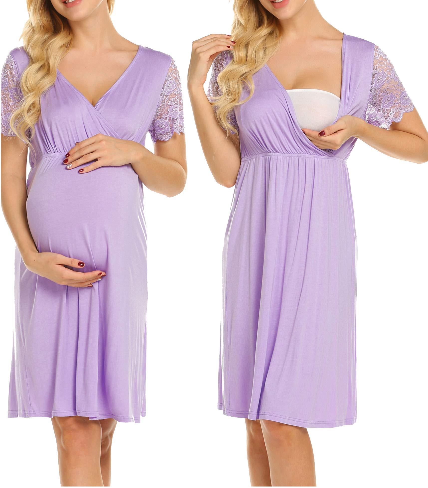 MAXMODA Women's Short Sleeve Maternity Dress Nursing Breastfeeding Nightgown Dress by MAXMODA