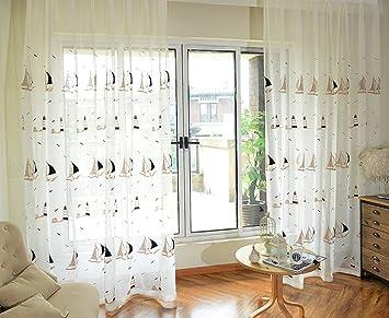 Beau Information BSIDE Sheer Rideaux Voile Draperies Tige Poches Décoration  Style Côtier Jalor Brodée Pour Le Salon Salle à Manger ...