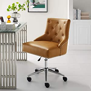 Modway Regent Tufted Button Faux Leather Swivel Office Chair with Nailhead Trim in Tan