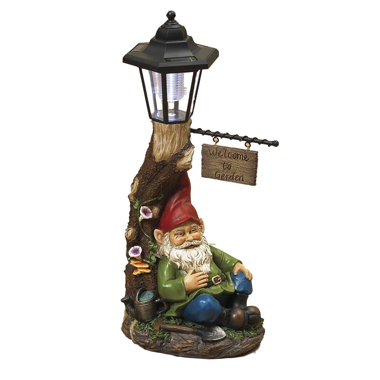 18'' Large Solar Lighted Tree WELCOME TO GARDEN Sign Lamp Post with Sleeping Garden Gnome Patio Porch Garden Decor ~ Resin ~