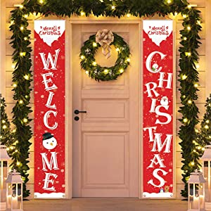T-Antrix Merry Christmas Banner Welcome Christmas Porch Banners Red Porch Sign Hanging Xmas Decorations for Home Wall Front Door Indoor Outdoor Christmas Banner Decoration