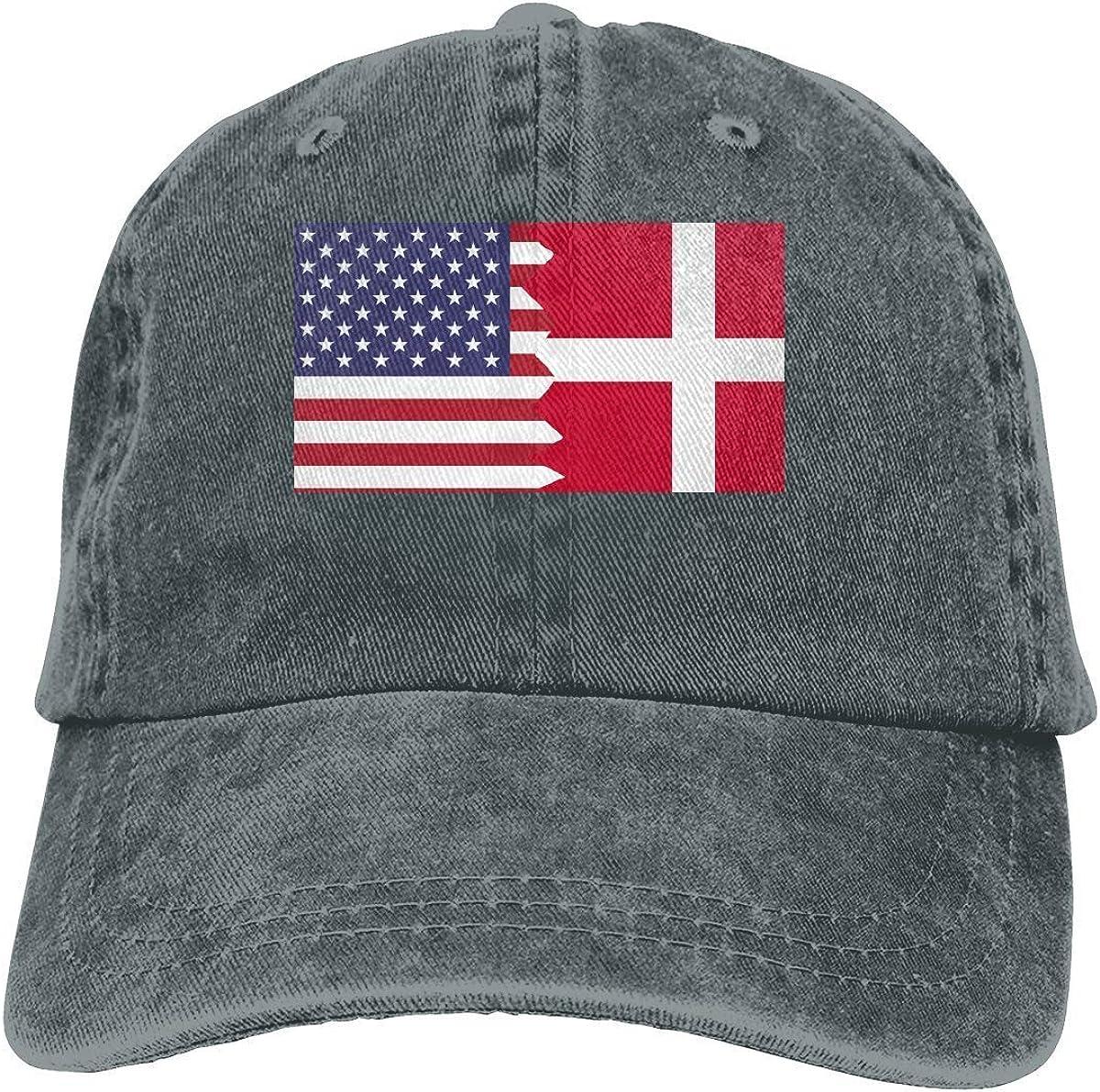 Ocaohuahuaba Gorra de béisbol para hombres y mujeres, bandera de Dinamarca americana, unisex, algodón, ajustable