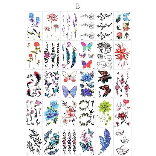 YSYYSH Flor, Pegatinas De Tatuajes De Animales De Dibujos Animados ...