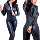 Sorrica Women's Sexy Pu Faux Leather Catsuit Teddy Clubwear