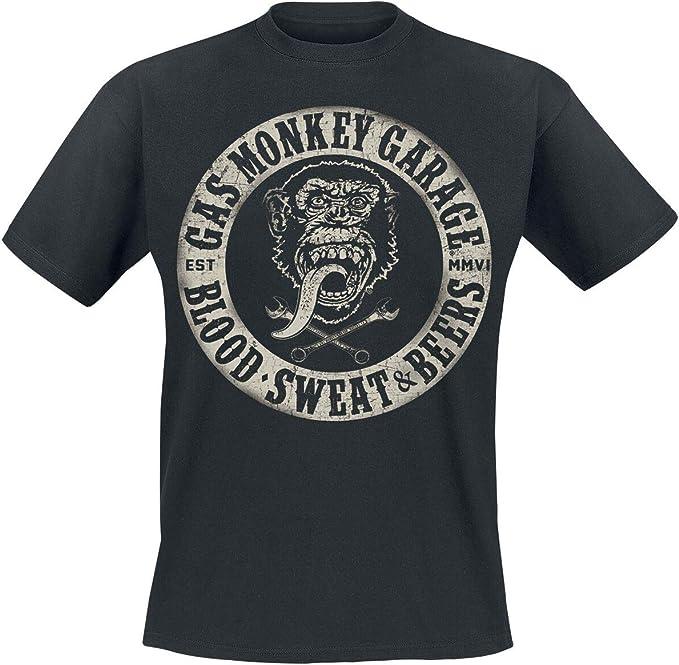 Gas Monkey Garage Blood Sweat Beers Männer T Shirt Schwarz Fan Merch Rockabilly Tv Serien Bekleidung