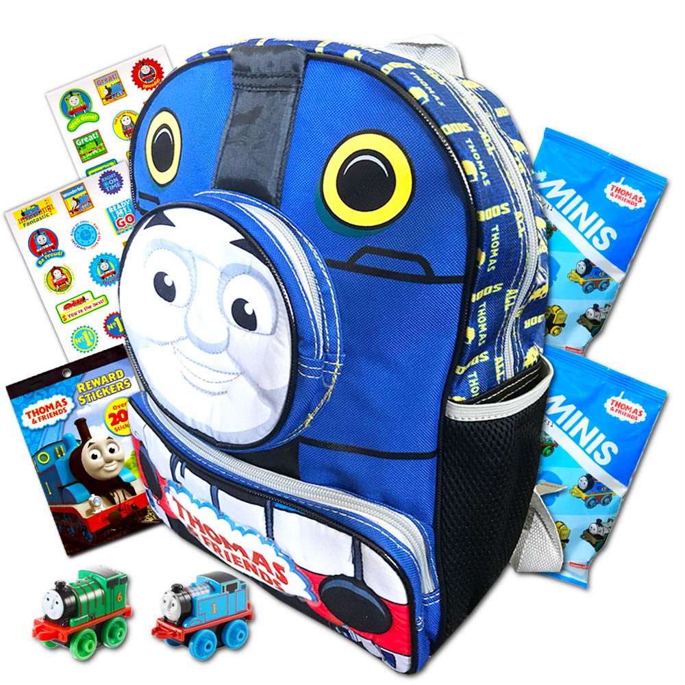 """/""""ALL ABOARD/"""" Thomas the Train Engine 10/""""  Mini Toddler Canvas School Backpack"""