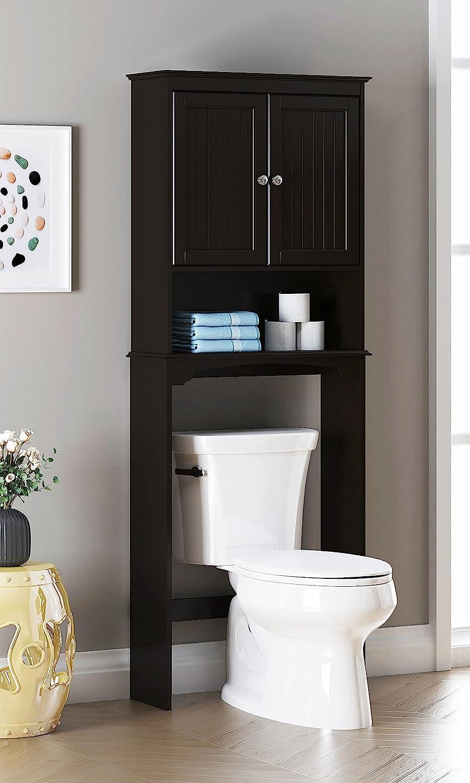Spirich Home Bathroom Shelf Over-The-Toilet, Bathroom SpaceSaver, Bathroom Storage Cabinet Organizer, Espresso