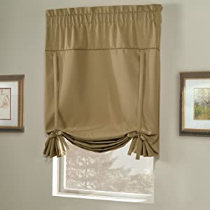 United Curtain Blackstone Blackout Tie Up Shade, 40 by 63-Inch, Gold