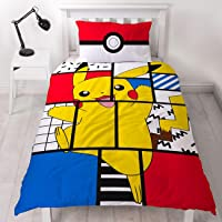 Character World Pokemon Pikachu Single Duvet Cover | Officially Licensed Reversible Pokeball Two Sided Super Memphis Design with Matching Pillowcase