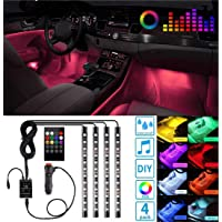 Ezonedeal 48 LEDs Car Interior Light Strip Kit, RGB Footwell Light, Music Sound Activated, Waterproof, Dimmable…
