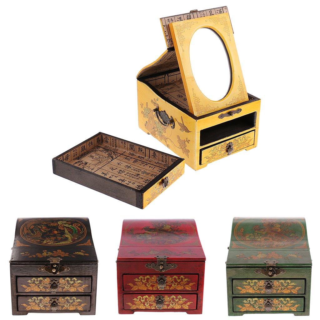 Baoblaze Vintage Jewelry Box Case Wooden Makeup Dresser Chest Cabinet Keepsake Home Decoration - Red, as described by Baoblaze (Image #8)