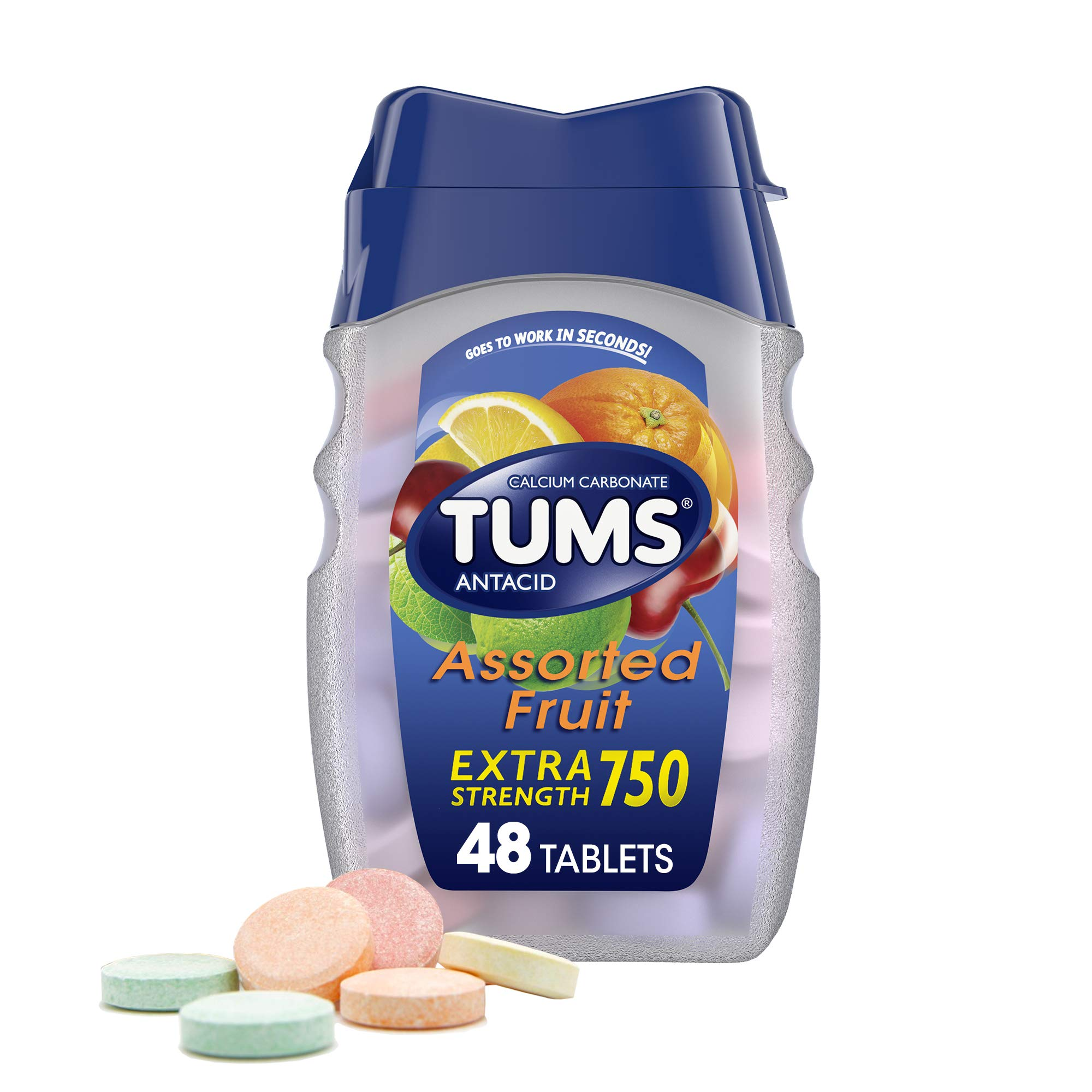 TUMS Extra Strength Antacid Tablets for Chewable Heartburn Relief and Acid Indigestion Relief, Assorted Fruit Flavors - Assorted Flavors, 48 Count (Pack of 1)