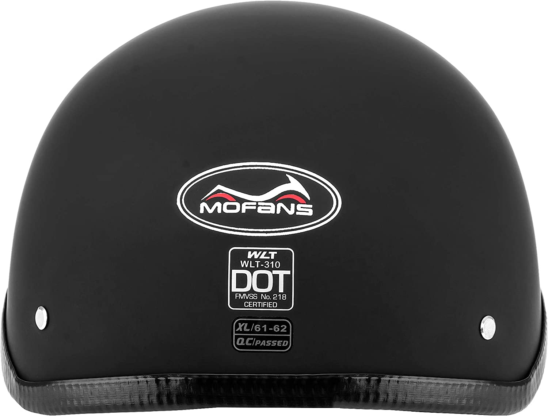 Matte Black M tedesco MOTORFANSCLUB Casco a scodella per moto con design vintage certificato DOT con visiera da sole