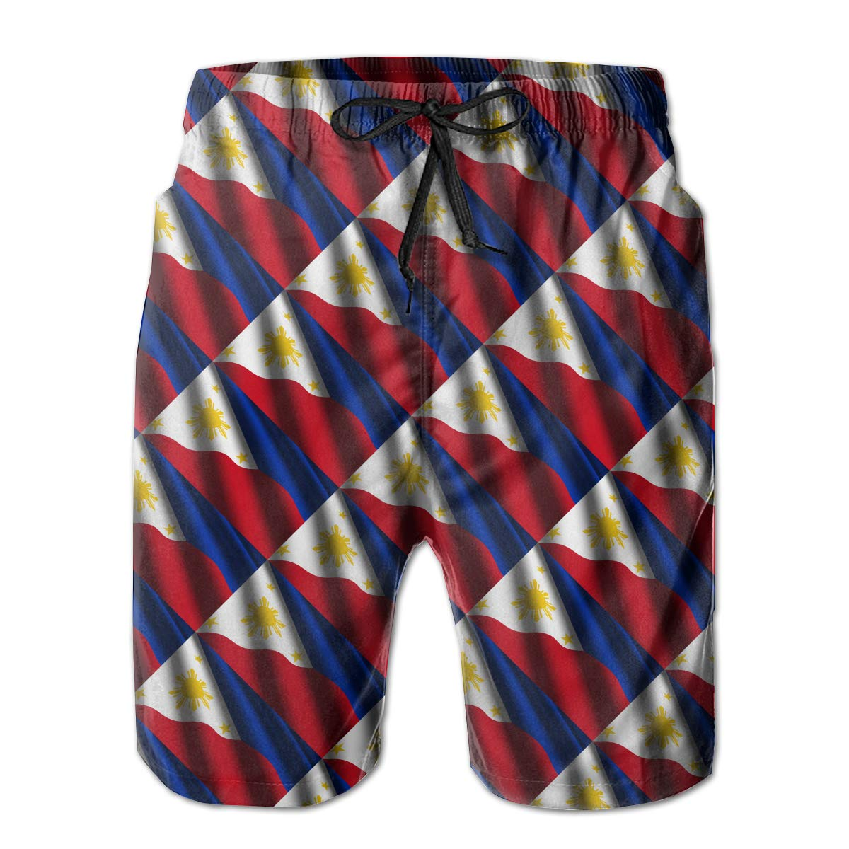 RolandracePhilippines Waving Flag Tie Mens Swim Trunks Quick Dry Bathing Suits Beach Holiday Party Board Shorts