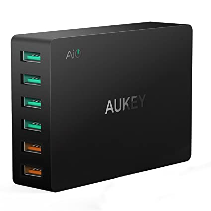 iphone quick charge. quick charge 3.0 aukey 6-port usb charger for samsung galaxy s8/s7/ iphone