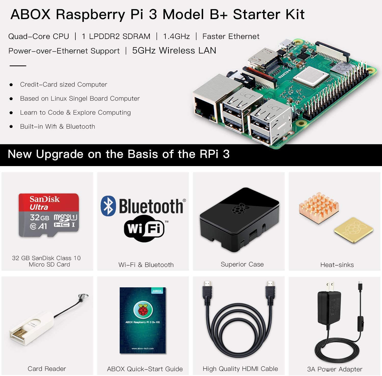 Amazon.com: ABOX Raspberry Pi 3 B+ Kit de arranque completo ...